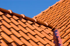 Roof detail. Close-up of roof construction with red tiles Royalty Free Stock Images