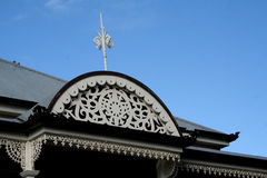Roof Detail. Old fashioned roof detail and sky Royalty Free Stock Photography