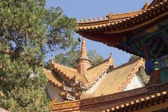 Roof detail in the Buddhist Temple royalty free stock photos