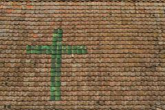 Roof detail of Half timbered house in a village in Alsace Royalty Free Stock Photo