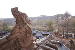 Roof detail mati  temple gansu province Stock Photo