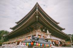 Roof Detail at Yakcheonsa Temple. Jeju, South Korea Stock Photos