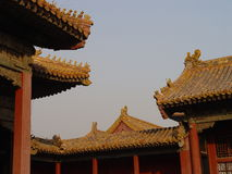 Roof details. In Beijing, China, Tiananmen Square / Beihai Park, Forbidden City stock photo