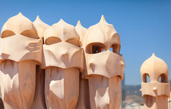 Gaudi Chimneys statues at Casa Mila (La Pedrera). Barcelona Stock Images