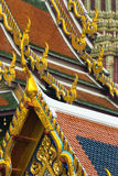 Roof details at Wat Phra Kaeo in Bangkok. Thailand. Shallow depth of field with the foreground in focus Stock Images