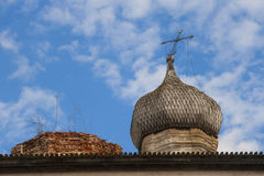 Roof of dilapidated church Stock Photo