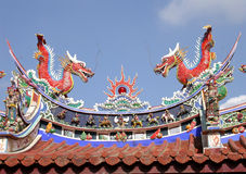 Roof Dragons. Dragons on the roof of a temple in Taiwan stock images