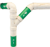 Roof drain pipe in three ways. Stock Photos