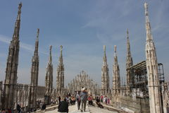 Roof of Duomo Cathedral in Milan Stock Photos