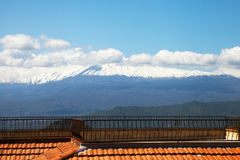 Roof and Etna. Royalty Free Stock Photography