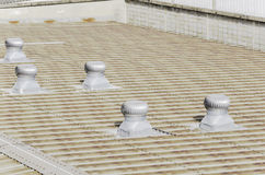 Roof of factory with roof ventilators. In sunshine day Royalty Free Stock Image