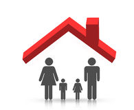 Roof and family stock illustration