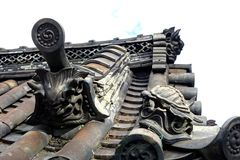 Roof Figures at Yakushi-ji Temple Royalty Free Stock Photography