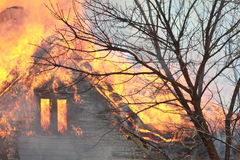 Roof fire Stock Photography