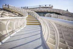 Roof footbridge for pedestrians at Metropol Parasol, Seville, Sp Stock Photos