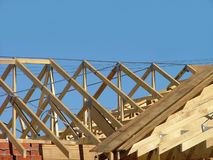 Roof frame. Roof under construction stock photo