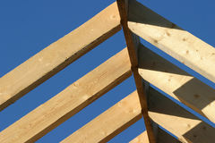 Roof Frame. Detail of Wooden Roof Framework (selective focus on near beams stock image