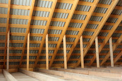 Roof frame covered by profiled metal sheet  inside view Royalty Free Stock Photo