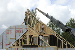 Roof frame and crane Royalty Free Stock Photography