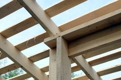 Roof frame mounting inside house Stock Photography