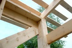 Roof frame mounting inside house Stock Photos