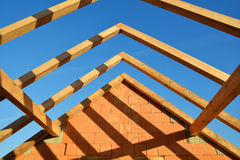 Roof frame rafters. Building a new house stock image
