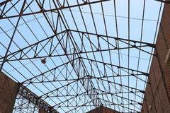 Roof framework. Of an hangar in abandoned mine stock image