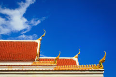 Roof gable in Thai temple with blue sky Stock Images
