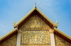 The roof gable of Thai temple Stock Photos