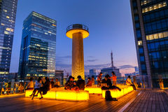 The roof garden of Kitte Marunouchi shopping mall. TOKYO, JAPAN - NOVEMBER 15, 2015: Unidentified people are on the roof garden of Kitte Marunouchi shopping mall Royalty Free Stock Photos