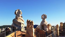 Roof of Gaudi's la pedrera Royalty Free Stock Photo