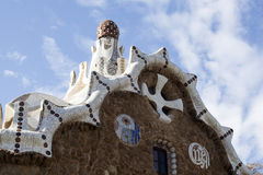 The roof of a gingerbread house in the Park Guell Stock Images