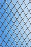 Roof glass modern windows metal grid blue sky pattern Stock Photography