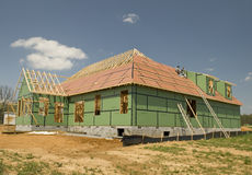Roof Goes On New Home Royalty Free Stock Image