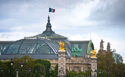 Roof of Grand Palace and the Bridge Alexander III, Paris Royalty Free Stock Images