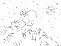 Roof graphic black white sketch illustration vector. Santa Claus climbs into the chimney. Roof graphic black white sketch vector. Santa Claus climbs into the stock illustration