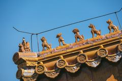 Roof Guardians, Forbidden city, Beijing, China Royalty Free Stock Photos