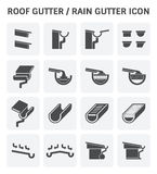 Roof Gutter Icon. Roof gutter for drainage system vector icon set design Stock Images