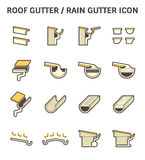 Roof Gutter Icon. Roof gutter for drainage system vector icon set design Royalty Free Stock Photography