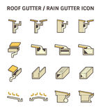 Roof Gutter Icon. Roof gutter for drainage system vector icon set design Royalty Free Stock Photo