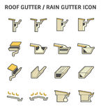 Roof Gutter Icon. Roof gutter for drainage system vector icon set design Stock Photography
