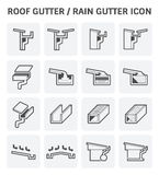 Roof gutter icon. Roof gutter or rain gutter for drainage system vector icon set design Royalty Free Stock Image