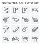 Roof gutter icon. Roof gutter or rain gutter for drainage system vector icon set design Stock Photos
