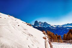 Roof of high-altitude mountain hut in front of a panorama of sno Royalty Free Stock Photography