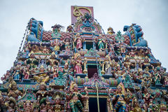 Roof of Hindu temple. Roof of temple in little India, Singapore Royalty Free Stock Images