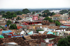 On the roof of a house in the city of Trinidad (Cuba). Picture taken on a rooftop in the city of Trinidad (Cuba stock images