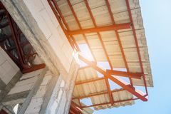 Roof house construction with lots of tile Royalty Free Stock Image