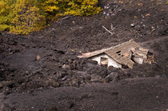 Roof of a house covered by lava of Etna volcano, Sicily Royalty Free Stock Photo