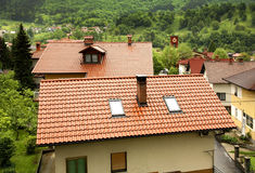 Roof of the house in Kobarid. Slovenia Stock Photography