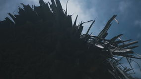 Roof of the house made of palm leaves. In the daytime stock video